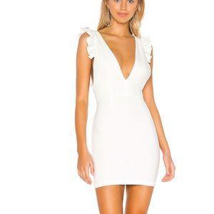 superdown Drea Ruffle V Neck Mini Dress in White
